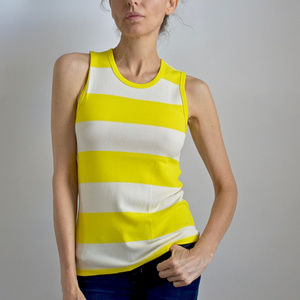 JCrew Stripped Off white and bright Yellow Top
